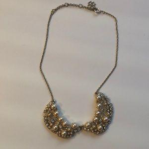 Jewelry - LOFT bib necklace with pearls and rhinestones.